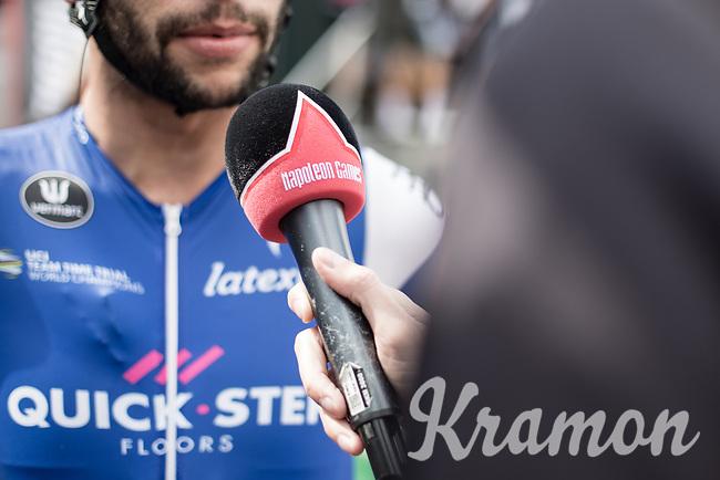 Later race winner Fernando Gaviria (COL/Quick Step Floors) pre race interview<br /> <br /> 102nd Kampioenschap van Vlaanderen 2017 (UCI 1.1)<br /> Koolskamp - Koolskamp (192km)