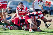 Maka Tatafu crashes over near the corner flag to score Waiuku's only try  late in the game. Counties Manukau Premier Club Rugby game bewtween Waiuk & Karaka played at Waiuku on Saturday April 11th, 2010..Karaka won the game 24 - 22 after leading 21 - 9 at halftime.