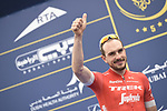 John Degenkolb (GER) Trek-Segafredo at sign on before the start of Stage 4 The Municipality Stage of the Dubai Tour 2018 the Dubai Tour&rsquo;s 5th edition, running 172km from Skydive Dubai to Hatta Dam, Dubai, United Arab Emirates. 9th February 2018.<br /> Picture: LaPresse/Fabio Ferrari | Cyclefile<br /> <br /> <br /> All photos usage must carry mandatory copyright credit (&copy; Cyclefile | LaPresse/Fabio Ferrari)