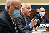 Dr. Anthony Fauci (C), Director of the National Institute for Allergy and Infectious Diseases, National Institutes of Health; testifies alongside Dr. Robert Redfield (L), Director, Centers for Disease Control and Prevention; and Dr. Stephen M. Hahn, Commissioner, U.S. Food and Drug Administration; during a House Energy and Commerce Committee hearing on the Trump Administration's Response to the COVID-19 Pandemic, on Capitol Hill in Washington, DC on Tuesday, June 23, 2020. <br /> Credit: Kevin Dietsch / Pool via CNP