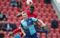 Teddy Mezague of Leyton Orient beats Garry Thompson of Wycombe Wanderers in the air during the Sky Bet League 2 match between Leyton Orient and Wycombe Wanderers at the Matchroom Stadium, London, England on 1 April 2017. Photo by Andy Rowland.