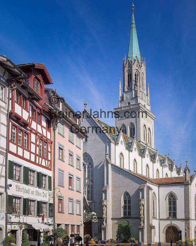 Switzerland, Canton St. Gallen, St. Gallen: St Laurenzen church at monastery quarter | Schweiz, Kanton St. Gallen, St. Gallen: Klosterviertel mit der St. Laurenzenkirche