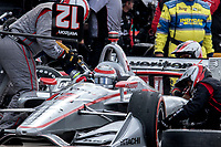 Will Power, #12 Chevrolet, pit stop, Detroit Grand Prix, IndyCar race, Belle Isle, Detroit, MI, June 2018.(Photo by Brian Cleary/bcpix.com)