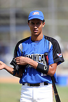 Carlos Vargas participates in the Dominican Prospect League 2014 Louisville Slugger Tournament at the New York Yankees academy in Boca Chica, Dominican Republic on January 20-21, 2014 (Bill Mitchell)