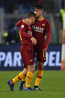 Cengiz Under of AS Roma celebrates with Alessandro Florenzi after scoring goal of 1-1 during the Serie A 2018/2019 football match between AS Roma and FC Internazionale at stadio Olimpico, Roma, December, 2, 2018 <br />  Foto Andrea Staccioli / Insidefoto