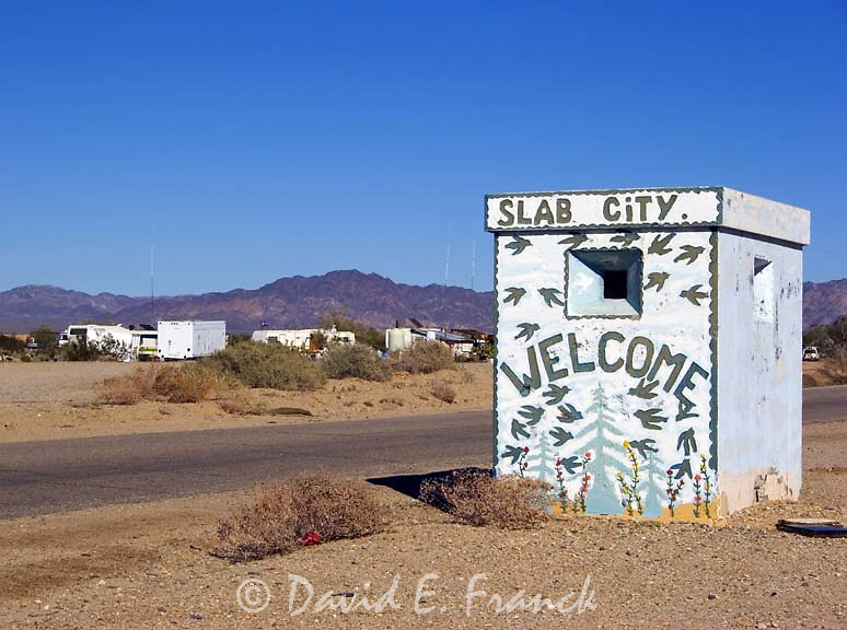 The Slab City welcome sign located on the former Camp Dunlap Navy base east of Niland, California, home to squatters in the desert.