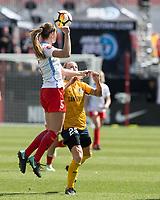 Sandy, UT - Saturday April 14, 2018: Katie Naughton, Gunnhildur Jonsdottir during a regular season National Women's Soccer League (NWSL) match between the Utah Royals FC and the Chicago Red Stars at Rio Tinto Stadium.