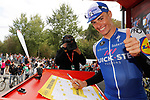 Julian Alaphilippe (FRA) Quick-Step Floors at sign on before the start of Stage 17 of the 2017 La Vuelta, running 180.5km from Villadiego to Los Machucos. Monumento Vaca Pasiega, Spain. 6th September 2017.<br /> Picture: Unipublic/&copy;photogomezsport | Cyclefile<br /> <br /> <br /> All photos usage must carry mandatory copyright credit (&copy; Cyclefile | Unipublic/&copy;photogomezsport)