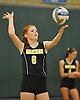 Wantagh No. 6 Emily Kaufmann serves during the Nassau County varsity girls' volleyball Class A final against Long Beach at SUNY Old Westbury on Wednesday, Nov. 11, 2015. Wantagh won 3-0.<br /> <br /> James Escher