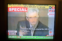 ROMANIA / Bucharest / ..A television screen shot of the military trial of Romanian Communist dictator Nicolae Ceausescu and his wife Elena which occurred on Christmas day 1989 during the Romanian Revolution. Romanian television replayed the trial and a documentary about his rule of Romania on the occasion of his birthday, 26 January. Ceausescu would have been 91 years-old in 2009, but he and his wife were executed directly following the trial by firing squad. Romania experienced the most oppressive of the former Eastern Bloc's Communist regimes and by the late 1980s shops were empty of food, the imfamous secret police called the Securitate had created a police state and Ceausescu had launched grandisose Communist building projects modeled after North Korea that involved leveling one fifth of historic Bucharest...© Davin Ellicson / Anzenberger