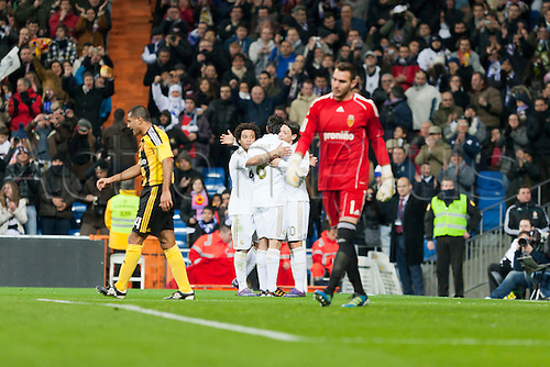 28.01.2012 Madrid, Spain,Real Madrids players celebrates the goal during the Spanish league game between Real Madrid and Real Zaragoza at the Santiago Bernabeu Stadium....