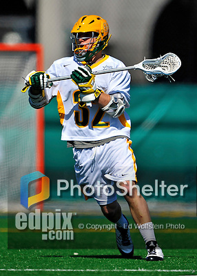17 March 2012: University of Vermont Catamount Attackman/Midfielder Dan Gutberlet, a Freshman from Freeland, MD, in action against the Sacred Heart University Pioneers at Virtue Field in Burlington, Vermont. The visiting Pioneers rallied to tie the score at 11 with five unanswered goals in the 4th period. However the Cats came back with only 10 seconds remaining in the game to defeat the Pioneers 12-11 in their non-conference matchup. Mandatory Credit: Ed Wolfstein Photo