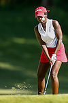 STILLWATER, OK - MAY 23: Lakareber Abe of Alabama chips onto the green during the Division I Women's Golf Team Match Play Championship held at the Karsten Creek Golf Club on May 23, 2018 in Stillwater, Oklahoma. (Photo by Shane Bevel/NCAA Photos via Getty Images)