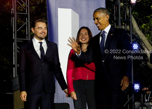 United States President Barack Obama, Leonardo DiCaprio and Dr. Katharine Hayhoe arrive for a panel discussion  on climate change as part of the White House South by South Lawn (SXSL)  event about the importance of protecting the one planet we&rsquo;ve got for future generations, on the South Lawn of the White House, Washington DC, October 3, 2016. <br /> Credit: Aude Guerrucci / Pool via CNP
