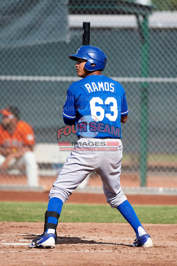 Kansas City Royals minor league infielder Mauricio Ramos #63 during an instructional league game against the San Francisco Giants at the Giants Baseball Complex on October 18, 2012 in Scottsdale, Arizona. (Mike Janes/Four Seam Images)