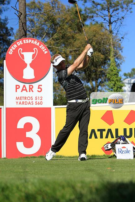 Soren Kjeldsen (DEN) on the 3rd tee during Thursday's Round 1 of The Open De Espana at The PGA Catalunya Resort. 15th May 2014.<br /> Picture:  Thos Caffrey / www.golffile.ie