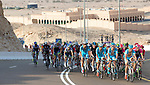 Astana lead the peloton as they hit the mountains near the end of Stage 3, The Al Ain Stage, of the 2015 Abu Dhabi Tour starting from the Al Qattara Souq in Al Ain and running 129 km to the mountain top finish at Jebel Hafeet at 1025 metres, Abu Dhabi. 10th October 2015.<br /> Picture: ANSA/Claudio Peri | Newsfile