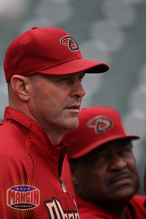SAN FRANCISCO, CA - SEPTEMBER 4:  Manager Kirk Gibson and batting coach Don Baylor of the Arizona Diamondbacks watche batting practice before the game against the San Francisco Giants at AT&T Park on September 4, 2011 in San Francisco, California. Photo by Brad Mangin