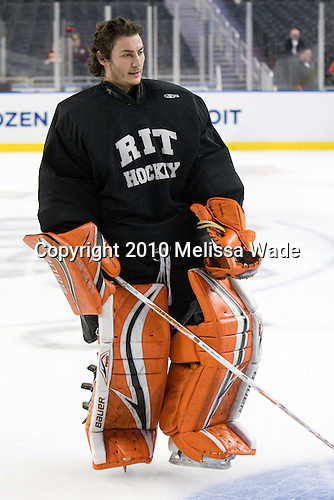 Shane Madolora (RIT - 1) - The Rochester Institute of Technology (RIT) Tigers practiced on Wednesday, April 7, 2010, at Ford Field in Detroit, Michigan to prepare for their 2010 Frozen Four Semi-Final.