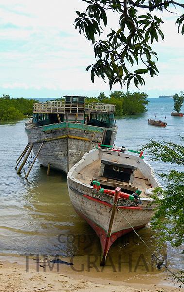 Old dhows moored at boatyard, Zanzibar