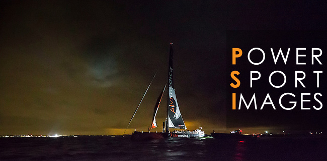 Team Alvimedica heading towards the Scheveningen Harbour for a 24-hours pit stop of the Volvo Ocean Race Leg 9 Lorient - Gothenburg on June 19, 2015 in The Hague, Netherlands. Photo by Victor Fraile / Power Sport Images