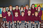 Children from Farranfore on their first day at Knockaderry NS on Monday front row l-r: Luke Ring, Ethan Whelan, TJ O'Connor, Brian McCarthy, Hugh Walsh. Back row: Katie Fitzgerald, Fiona Callaghan, Leanne O'Sullivan, Meabh Coleman, Ella Walshe, Rachel Murphy, Dearbhle Brosnan