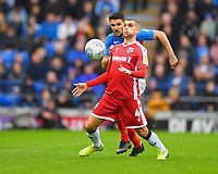 Stuart O'Keefe of Gillingham hold the ball up ahead of Gareth Evans of Portsmouth during Portsmouth vs Gillingham, Sky Bet EFL League 1 Football at Fratton Park on 12th October 2019