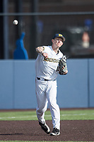 Michigan Wolverines third baseman Jimmy Kerr (15) makes a throw to first base against the Central Michigan Chippewas on May 9, 2017 at Ray Fisher Stadium in Ann Arbor, Michigan. Michigan defeated Central Michigan 4-2. (Andrew Woolley/Four Seam Images)