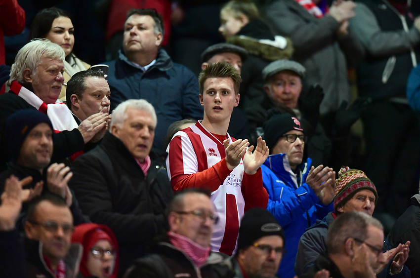 Lincoln City fans enjoy the pre-match atmosphere<br /> <br /> Photographer Chris Vaughan/CameraSport<br /> <br /> The EFL Checkatrade Trophy Fourth Round - Lincoln City v Peterborough United - Tuesday 23rd January 2018 - Sincil Bank - Lincoln<br />  <br /> World Copyright &copy; 2018 CameraSport. All rights reserved. 43 Linden Ave. Countesthorpe. Leicester. England. LE8 5PG - Tel: +44 (0) 116 277 4147 - admin@camerasport.com - www.camerasport.com