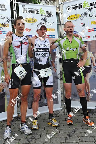 2010-08-01 / Duatlon / Powerman 2010 Geel / Podium Elite Heren : 1e plaats (m) Jochen Neyrinck, 2e plaats (l) Sören Bystrup, 3e plaats (r) Armand Van der Smissen