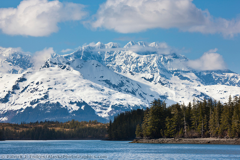 Snow covered Mt Muir of the Chugach mountains, Prince William Sound, Alaska.