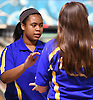 Daisha Howard of Kellenberg, left, gets congratulated after knocking down pins in the Nassau-Suffolk CHSAA league championship against St. Dominic at Farmingdale Lanes on Monday, Feb. 13, 2017.