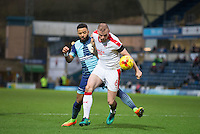 Mark Connolly of Crawley Town holds off Alex Jakubiak of Wycombe Wanderers during the Sky Bet League 2 match between Wycombe Wanderers and Crawley Town at Adams Park, High Wycombe, England on 25 February 2017. Photo by Andy Rowland / PRiME Media Images.