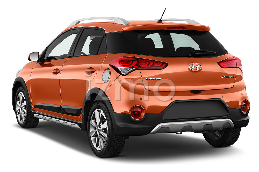 Car pictures of rear three quarter view of 2016 Hyundai i20 ACTIVE Pop 5 Door Hatchback Angular Rear