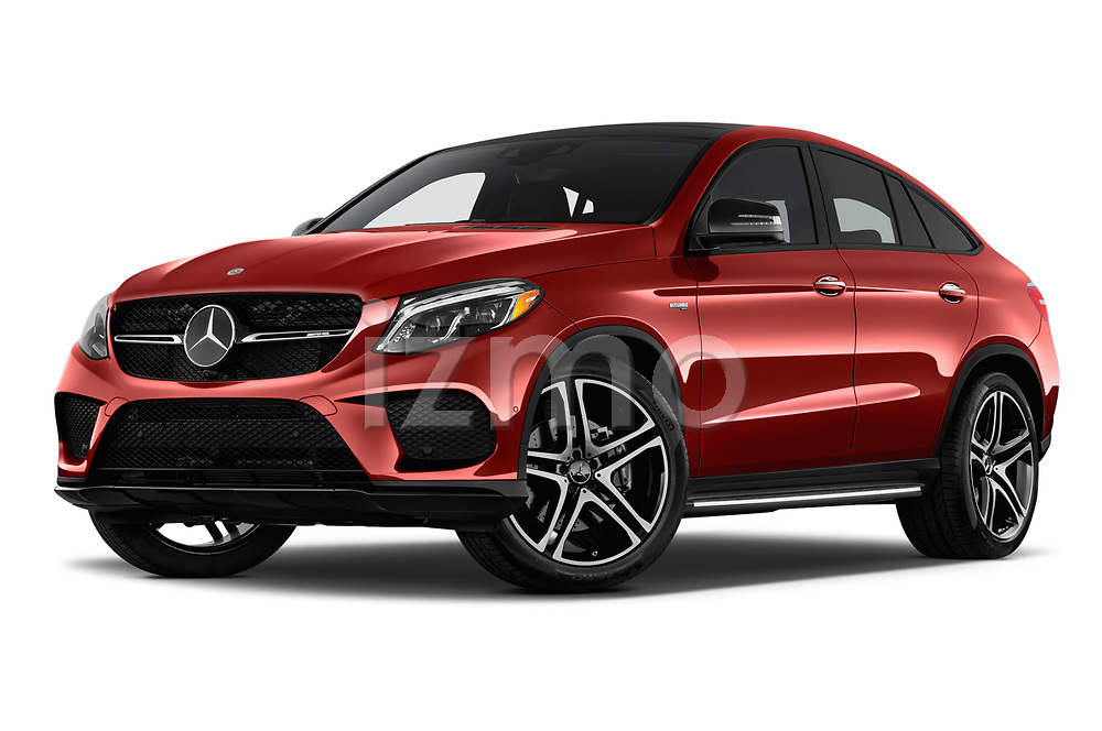 Stock pictures of low aggressive front three quarter view of a 2019 Mercedes Benz GLE-Class Coupe GLE43 AMG 4MATIC 5 Door SUV
