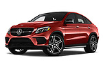 Stock pictures of low aggressive front three quarter view of a 2018 Mercedes Benz GLE-Class Coupe GLE43 AMG 4MATIC 5 Door SUV
