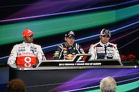 23.06.2012. Valencia, Spain. FIA Formula One World Championship 2012 Grand Prix of Europe Qualifying Session. Lewis Hamilton (England driver of McLaren),  Sevastian Vettel (German driver of Red Bull) and  Pastor Maldonado (Venezuelan driver of Williams).