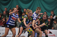 KORFBAL: GORREDIJK: Sport- en Ontspanningscentrum Kortezwaag, 27-11-2013, LDODK - AKC BLAUW WIT, Eindstand 25-28, Mandy Koelman (#3 | AKC), Betty Jansma (#9 | LDODK), Otto Fabius (AKC), Markus de Boer (#16 | LDODK), ©foto Martin de Jong
