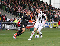 Adam Matthews beats Paul Dummett in the St Mirren v Celtic Clydesdale Bank Scottish Premier League match played at St Mirren Park, Paisley on 20.10.12.
