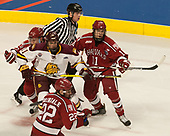 Kevin Briganti, Viktor Dombrovskiy (Harvard - 27), Avery Peterson (UMD - 11), Devin Tringale (Harvard - 22), Ty Pelton-Byce (Harvard - 11) - The University of Minnesota Duluth Bulldogs defeated the Harvard University Crimson 2-1 in their Frozen Four semi-final on April 6, 2017, at the United Center in Chicago, Illinois.