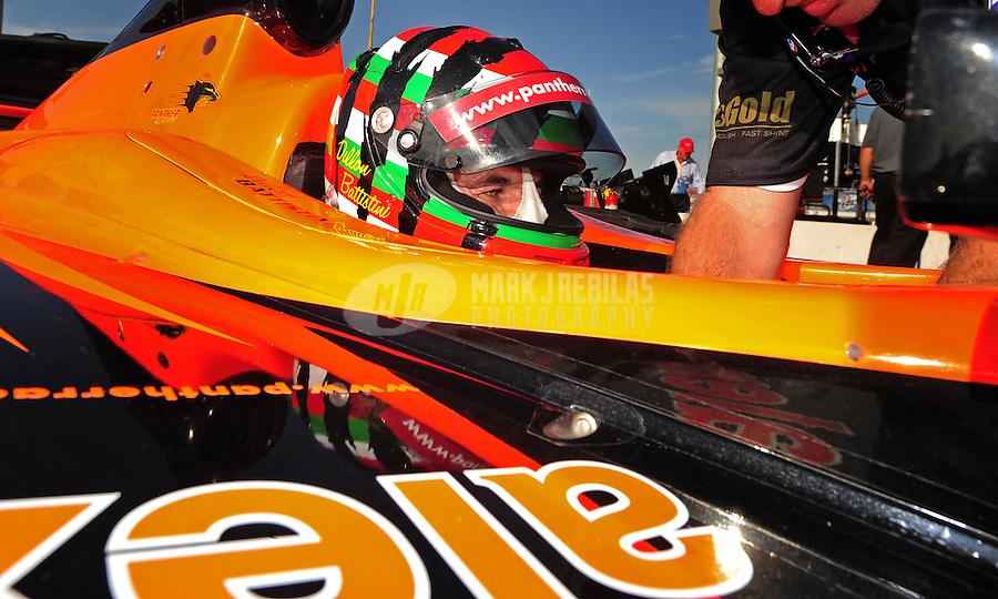 Jun. 20, 2008; Newton, IA, USA; Indy Light Series driver Dillon Battistini during qualifying for the Jeld Wen 100 at the Iowa Speedway. Mandatory Credit: Mark J. Rebilas-