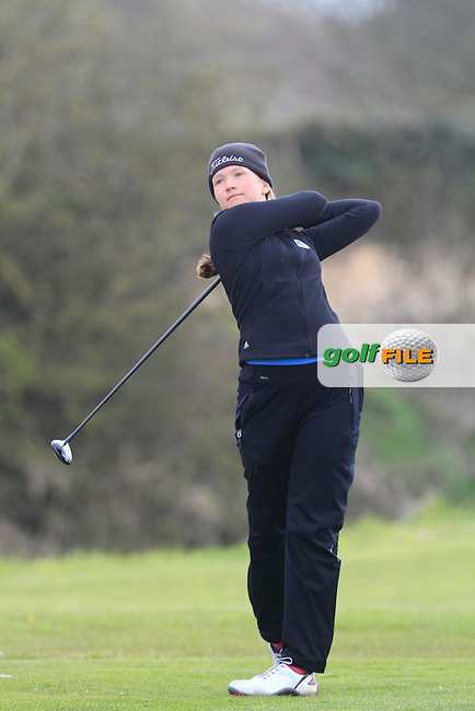 Elisabeth Haller (GER) on the 8th tee during Round 3 of The Irish Girls Open Strokeplay Championship in Roganstown Golf Club on Sunday 19th April 2015.<br /> Picture:  Thos Caffrey / www.golffile.ie