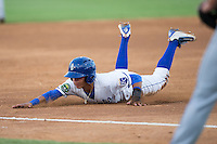 Nicky Lopez (4) of the Burlington Royals dives head first into third base during the game against the Kingsport Mets at Burlington Athletic Stadium on July 18, 2016 in Burlington, North Carolina.  The Royals defeated the Mets 8-2.  (Brian Westerholt/Four Seam Images)
