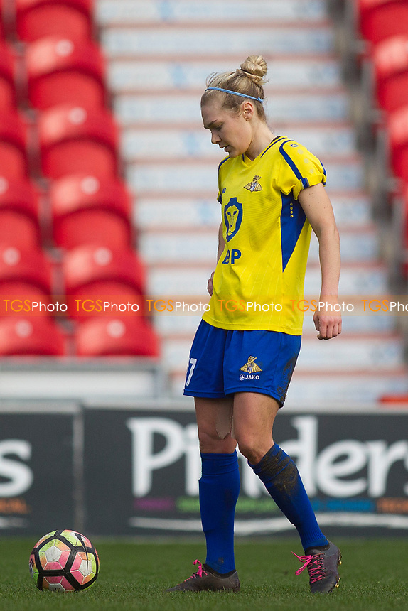 Emily Simpkin with a Belles free kick during Doncaster Rovers Belles vs London Bees, FA Women's Super League FA WSL2 Football at the Keepmoat Stadium on 12th March 2017