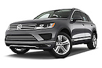 Stock pictures of low aggressive front three quarter view of 2017 Volkswagen Touareg Executive 5 Door SUV Low Aggressive