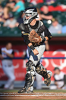 South Bend Silver Hawks catcher B.J. Lopez (26) throws down to second during a game against the Lansing Lugnuts on June 6, 2014 at Cooley Law School Stadium in Lansing, Michigan.  South Bend defeated Lansing 13-5.  (Mike Janes/Four Seam Images)