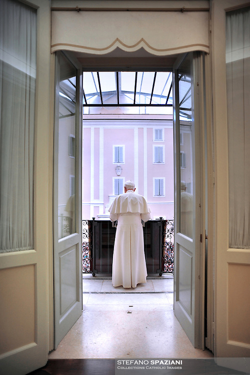 Pope Benedict XVI puts his hands together during his Sunday Angelus prayer at his summer residence of Castel Gandolfo, outside Rome,  Sept. 2010. .SPAZIANI/ OSSERVATORE ROMANO