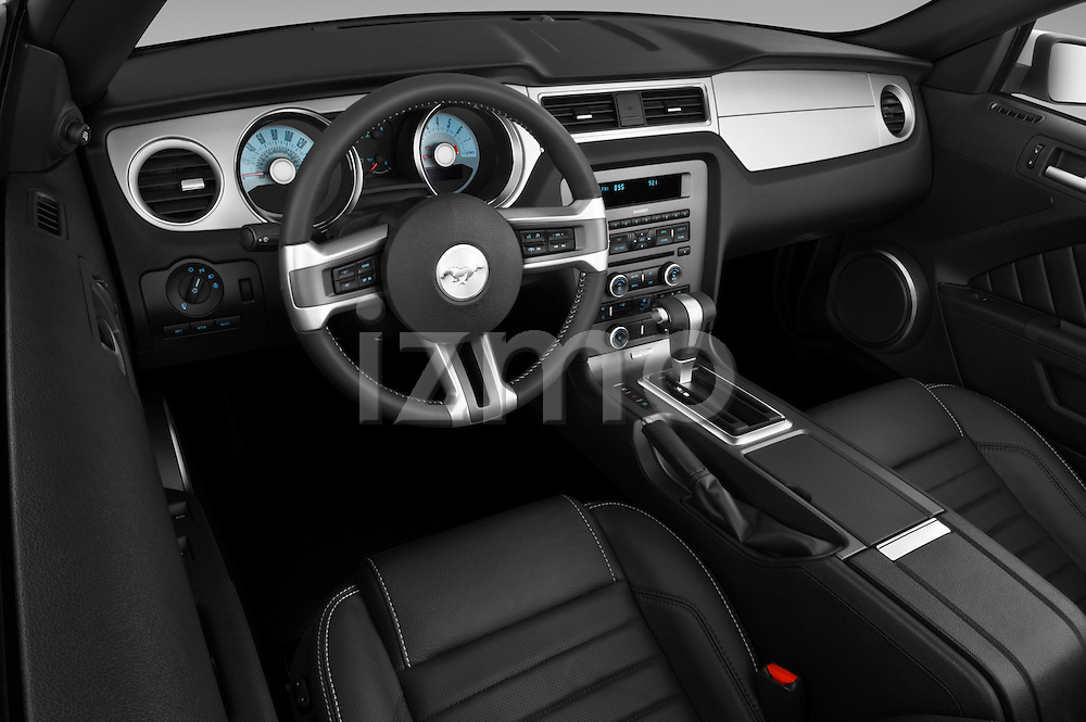 High angle dashboard view of a 2011 ford mustang gt premium convertible