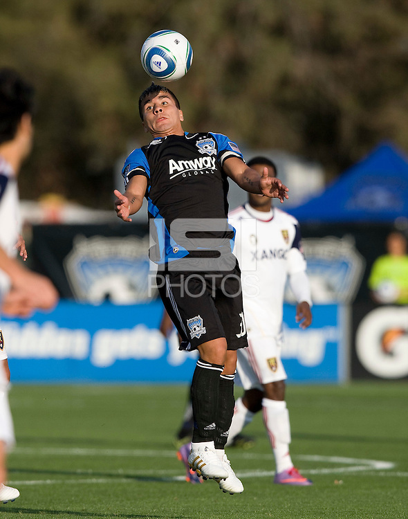 Javier Robles of Earthquakes hits the ball in the air during the game against Real Salt Lake at Buck Shaw Stadium in Santa Clara, California on March 27th, 2010.  Real Salt Lake defeated San Jose Earthquakes, 3-0.