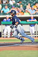 Mobile BayBears shortstop Luis Rengifo (9) swings at a pitch during a game against the Tennessee Smokies at Smokies Stadium on June 2, 2018 in Kodak, Tennessee. The BayBears defeated the Smokies 1-0. (Tony Farlow/Four Seam Images)